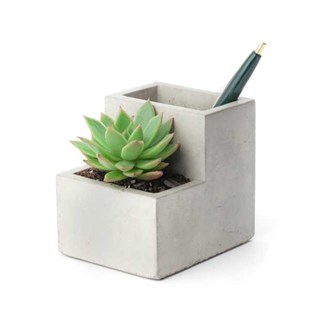 CONCRETE PLANTER PEN HOLDER SMALL - Beton Saksı Kalemlik - Küçük Boy