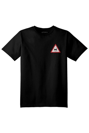 Aponia - Aponia Cat Traffic  Basic Siyah T-shirt - Erkek T-shirt